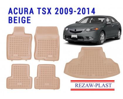 Rezaw-Plast All Weather Floor Mats Trunk Liner Set For ACURA TSX 2009-2014 Beige