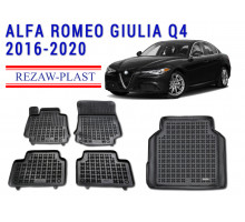 Rezaw-Plast All Weather Floor Mats Trunk Liner Set For ALFA ROMEO GIULIA Q4 2016-2020 Black