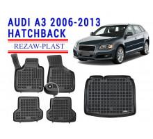 Rezaw-Plast Floor Mats Trunk Liner Set for Audi A3 2006-2013 Hatchback Black