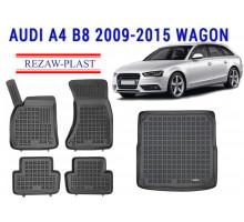 Rezaw-Plast Floor Mats Trunk Liner Set for Audi A4 B8 2009-2015 Wagon Black