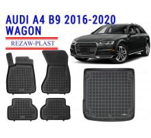 Rezaw-Plast Floor Mats Trunk Liner Set for Audi A4 B9 2016-2020 Wagon Black