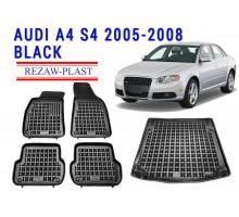 Rezaw-Plast Floor Mats Trunk Liner Set for Audi A4 S4 2005-2008 Black