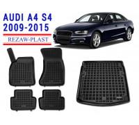 Rezaw-Plast All Weather Floor Mats Trunk Liner Set For AUDI A4 S4 2009-2015 Black