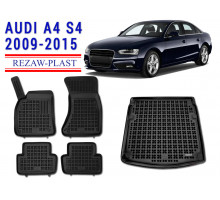Rezaw-Plast Floor Mats Trunk Liner Set for Audi A4 S4 2009-2015 Black