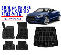 Rezaw-Plast All Weather Floor Mats Trunk Liner Set For AUDI A5 S5 RS5 COUPE CABRIO 2008-2016 Black