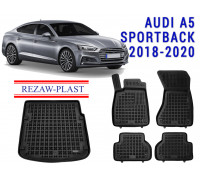 Rezaw-Plast All Weather Floor Mats Trunk Liner Set For AUDI A5 SPORTBACK 2018-2020 Black
