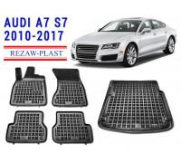 Rezaw-Plast Floor Mats Trunk Liner Set for Audi A7 S7 2010-2017 Black