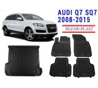 Rezaw-Plast All Weather Floor Mats Trunk Liner Set For AUDI Q7 SQ7 2008-2015 Black