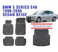 Rezaw-Plast All Weather Floor Mats Trunk Liner Set For BMW 3 SERIES E46 1998-2006 SEDAN Black