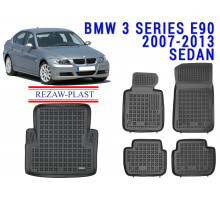 All Weather Floor Mats Trunk Liner Set For BMW 3 SERIES E90 2007-2013 SEDAN Black