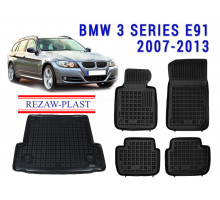 All Weather Floor Mats Trunk Liner Set For BMW 3 SERIES E91 2007-2013 Black