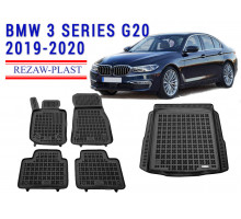 All Weather Floor Mats Trunk Liner Set For BMW 3 SERIES G20 2019-2020 Black