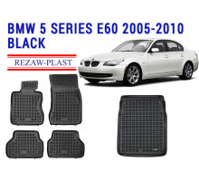 All Weather Floor Mats Trunk Liner Set For BMW 5 SERIES E60 2005-2010 Black