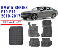 All Weather Floor Mats Trunk Liner Set For BMW 5 SERIES F10 F11 2010-2017 Black