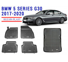 All Weather Floor Mats Trunk Liner Set For BMW 5 SERIES G30 2017-2020 Black