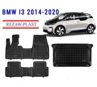 All Weather Floor Mats Trunk Liner Set For BMW I3 2014-2020 Black
