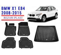 Rezaw-Plast Floor Mats Trunk Liner Set for BMW X1 E84 2008-2015 Black
