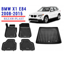 All Weather Floor Mats Trunk Liner Set For BMW X1 E84 2008-2015 Black