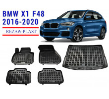 All Weather Floor Mats Trunk Liner Set For BMW X1 F48 2016-2020 Black