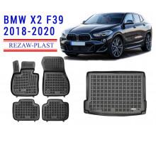 All Weather Floor Mats Trunk Liner Set For BMW X2 F39 2018-2020 Black
