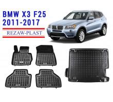 All Weather Floor Mats Trunk Liner Set For BMW X3 F25 2011-2017 Black