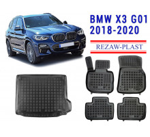 All Weather Floor Mats Trunk Liner Set For BMW X3 G01 2018-2020 Black