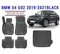 Rezaw-Plast Floor Mats Trunk Liner Set for BMW X4 G02 2019-2021 Black