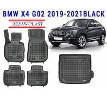 All Weather Floor Mats Trunk Liner Set For BMW X4 G02 2019-2021 Black