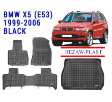 All Weather Floor Mats Trunk Liner Set For BMW X5 (E53) 1999-2006 Black