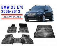 All Weather Floor Mats Trunk Liner Set For BMW X5 E70 2006-2013 Black
