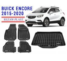 All Weather Floor Mats Trunk Liner Set For BUICK ENCORE 2015-2020 Black