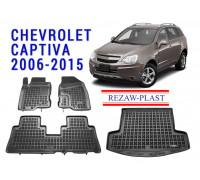 All Weather Floor Mats Trunk Liner Set For CHEVROLET CAPTIVA 2006-2015 Black
