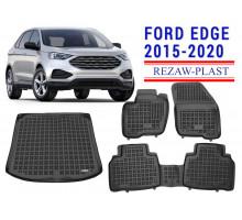 Rezaw-Plast Floor Mats Trunk Liner Set for Ford Edge 2015-2020 Black