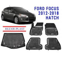 Rezaw-Plast Floor Mats Trunk Liner Set for Ford Focus 2012-2018 Hatch Black