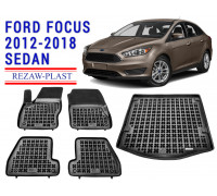 All Weather Floor Mats Trunk Liner Set For FORD FOCUS 2012-2018 SEDAN Black