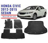 Rezaw-Plast Floor Mats Trunk Liner Set for Honda Civic 2012-2015 Sedan Black