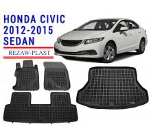 All Weather Floor Mats Trunk Liner Set For HONDA CIVIC 2012-2015 SEDAN Black
