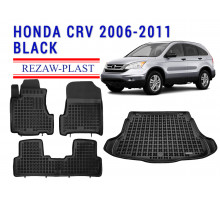 All Weather Floor Mats Trunk Liner Set For HONDA CR-V 2006-2011 Black