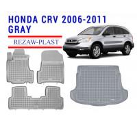 Rezaw-Plast Floor Mats Trunk Liner Set for Honda CR-V 2006-2011 Gray