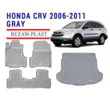All Weather Floor Mats Trunk Liner Set For HONDA CR-V 2006-2011 Gray