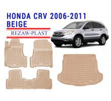All Weather Floor Mats Trunk Liner Set For HONDA CR-V 2006-2011 Beige