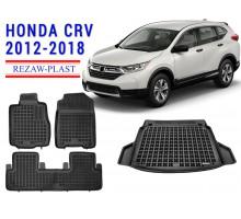 All Weather Floor Mats Trunk Liner Set For HONDA CR-V 2012-2018 Black