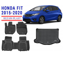 All Weather Floor Mats Trunk Liner Set For HONDA FIT 2015-2020 Black