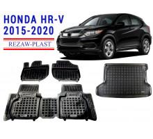 All Weather Floor Mats Trunk Liner Set For HONDA HR-V 2015-2020 Black