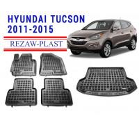 Rezaw-Plast Floor Mats Trunk Liner Set for Hyundai Tucson 2011-2015 Black