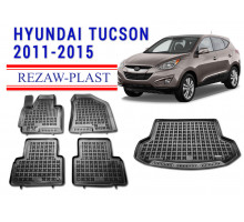 All Weather Floor Mats Trunk Liner Set For HYUNDAI TUCSON 2011-2015 Black
