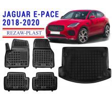 All Weather Floor Mats Trunk Liner Set For JAGUAR E-PACE 2018-2020 Black