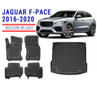 All Weather Floor Mats Trunk Liner Set For JAGUAR F-PACE 2016-2020 Black