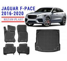 All Weather Floor Mats Trunk Liner Set For JAGUAR F-PACE 2016-2020 Black