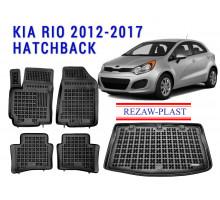 All Weather Floor Mats Trunk Liner Set For KIA RIO 2012-2017 HATCHBACK Black